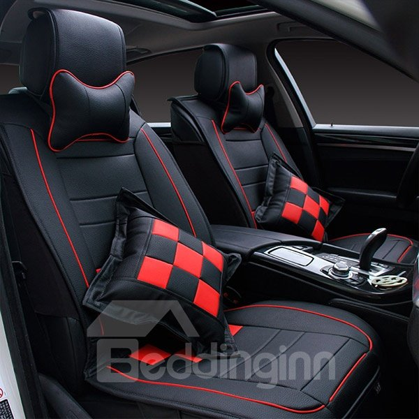 Sporty and Fashionable Plaid Patterned Leather Car Seat Cover