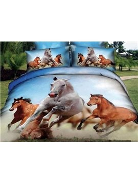 White and Brown Horses Printing Cotton Fitted Sheet