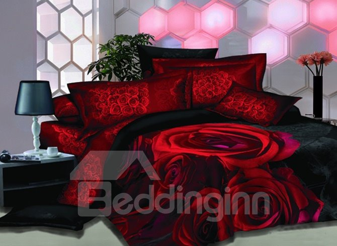 Bright Red Rose Printed 2-Piece Pillow Cases