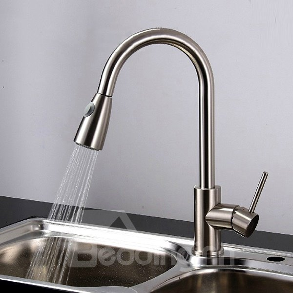 Brass Retractable One-Hole One-Handle Kitchen Sink Faucet