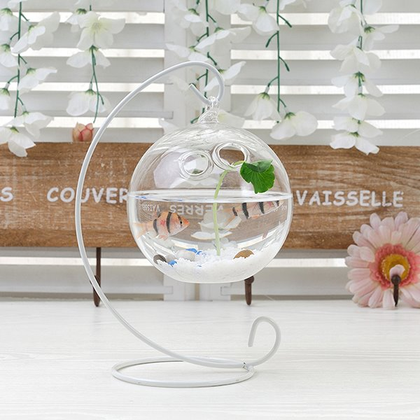 Creative Glass Vase on Iron Stand Flowers and Plants Vase Desktop Decoration