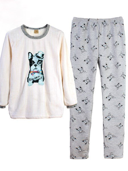 Fashion Cute French Bulldog Printing Flannel Pajamas Sets