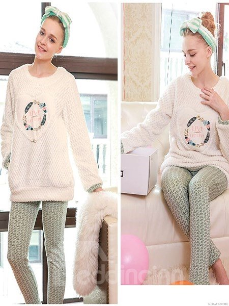 Concise Korean Sweet Style Flannel Pajamas Sets