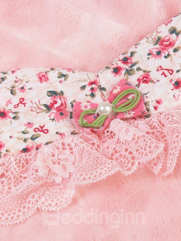 High Class Noble Floral Lace Flannel Pajamas Sets