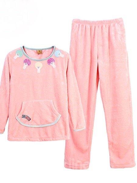 Sweet Macarons Cute Mushroom Pink Flannel Pajamas Sets
