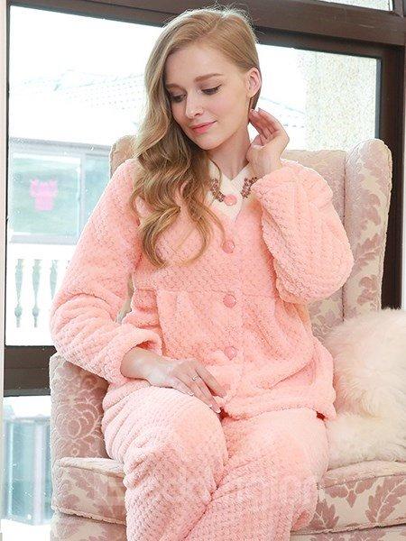 Korean V-collar Sweet Girlish Pink Flannel Pajamas Sets