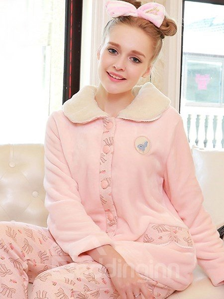 Lovely Rabbit and Bowknot Printinging Pink  Flannel Pajamas Sets