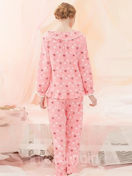 Charming Sweet Mushroom Printing 100% Cotton Pajamas Sets