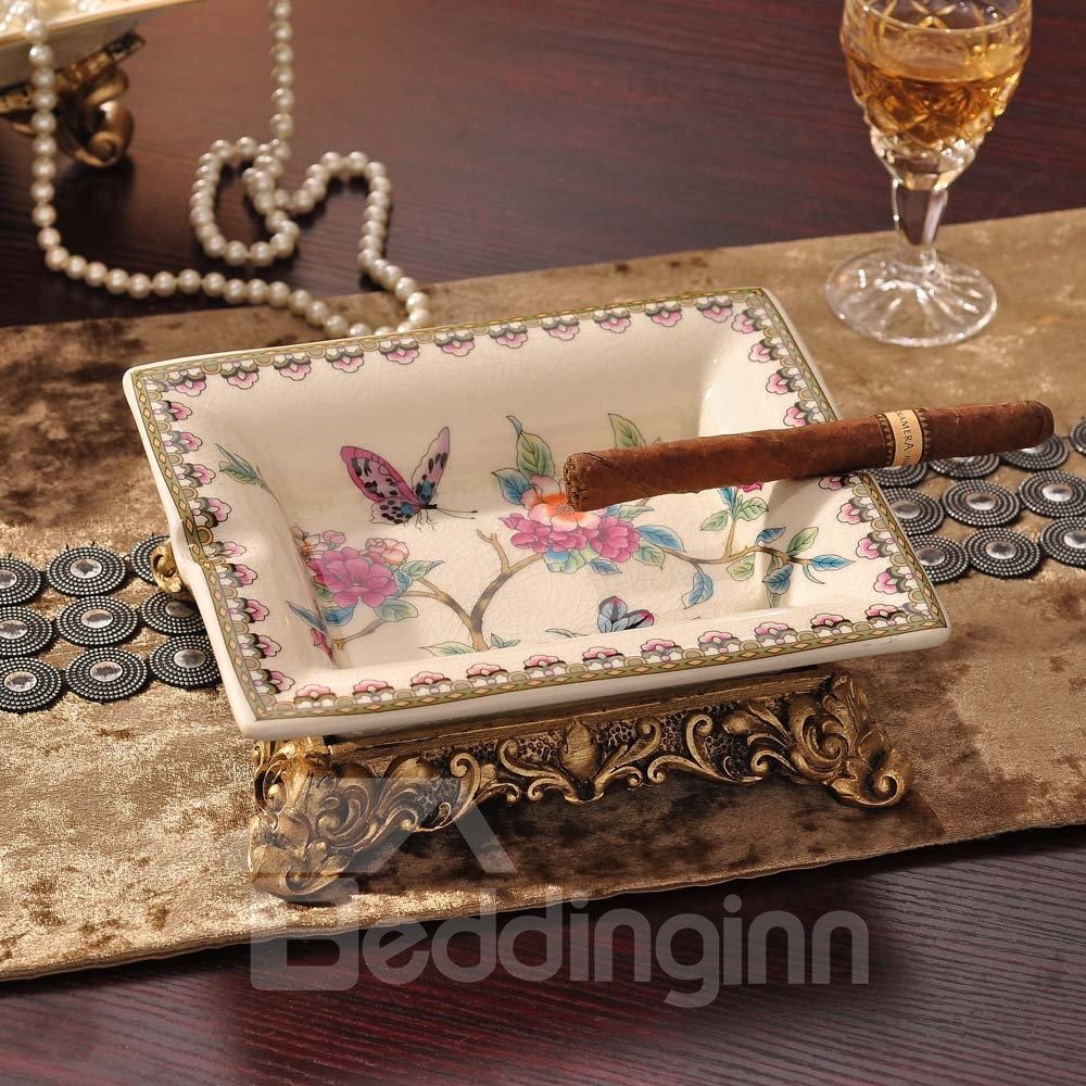 American Coutryside Style Flower and Butterfly Ceramic Ashtray Desktop Decoration