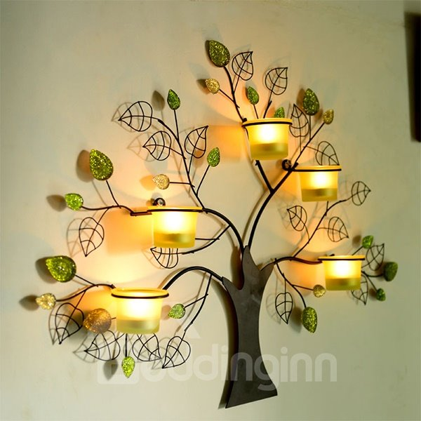 Unique Tree Design 5-Head Wall Candle Holder