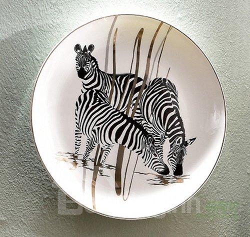 Creative Ceramic Plate Zebra Pattern 1-Set Wall Art Decoration