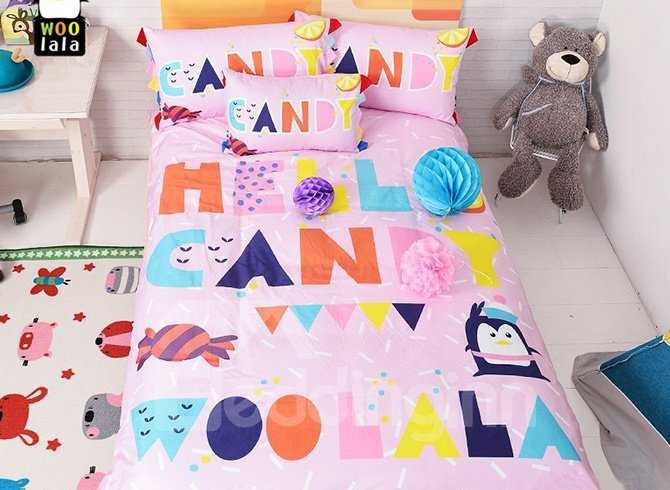 Pink Candy and Cute Letters Print Kids Duvet Cover Set