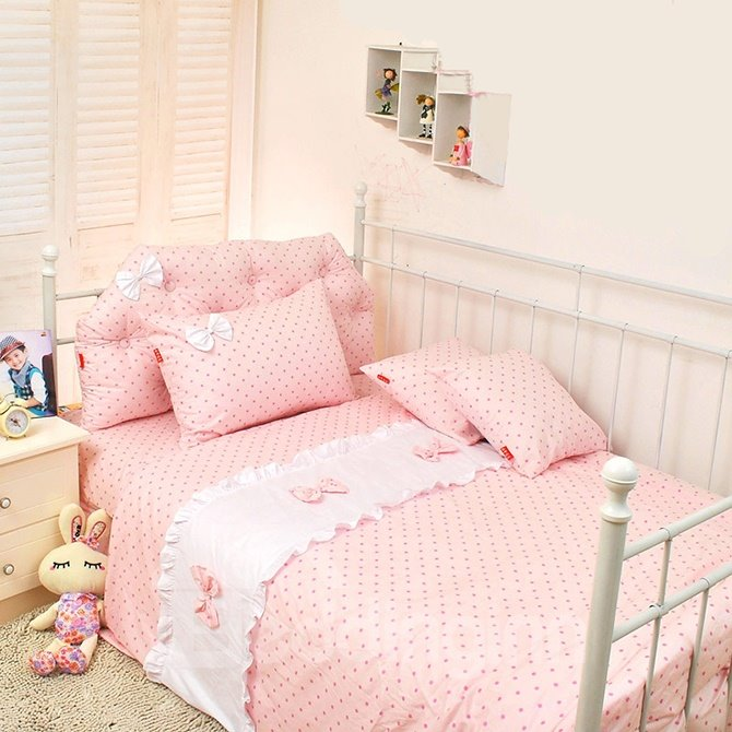 Lovely Polka Dots and Bowknot Princess Style Kids Duvet Cover Set