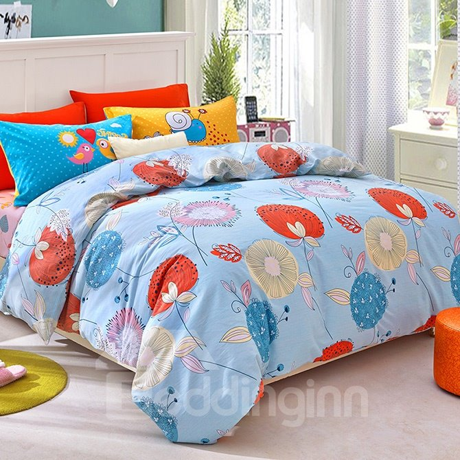 Blue Autumn Dandelion Print Kids Duvet Cover Set