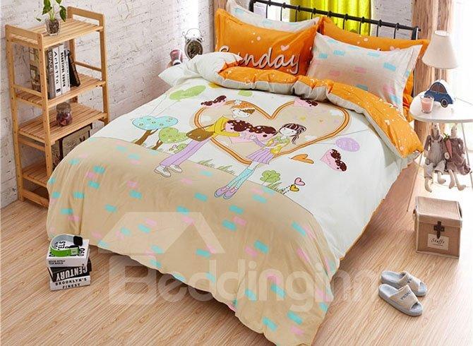 Sweet Journey Boy and Girl in Heart Shape Print Kids Duvet Cover Set