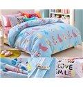 Light Blue Colorful Rabbits Pattern Kids Duvet Cover Set