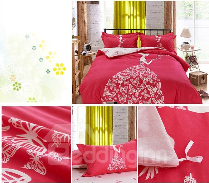 Dreamy Romantic Girl with Butterflies Dress Print Kids Duvet Cover Set