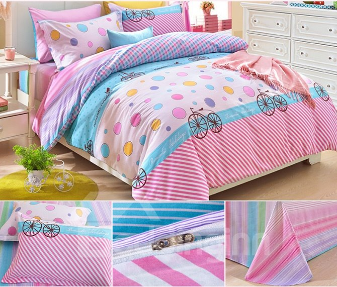 Lovely Colorful Polka Dots Pattern Kids Duvet Cover Set
