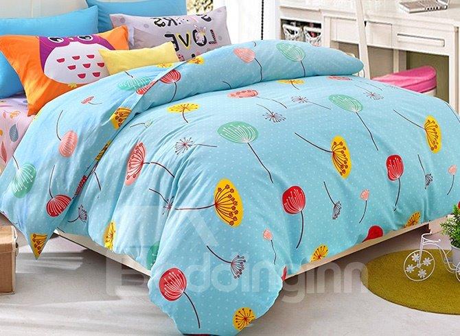 Fresh Summer Flowers Pattern Kids Duvet Cover Set
