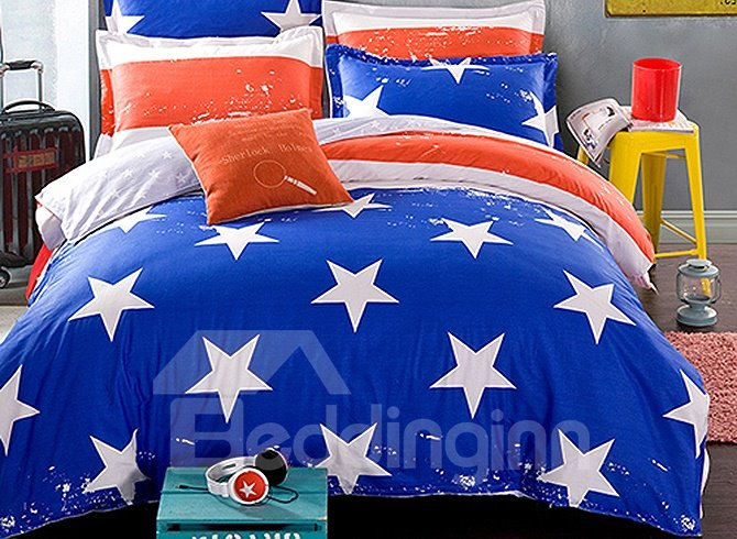 Stars and Stripes Pattern American Style Kids Duvet Cover Set