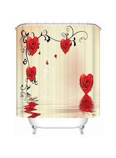 Fashion New Design Heart-shaped Roses Printing 3D Shower Curtain