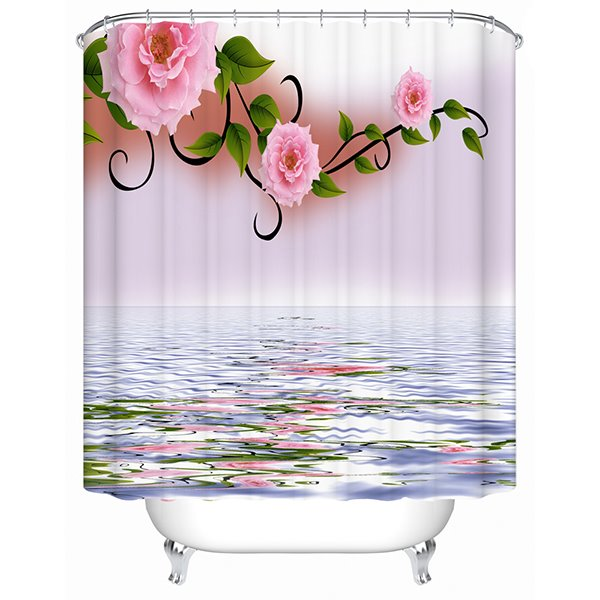 Peaceful Water and Graceful Flower 3D Shower Curtain