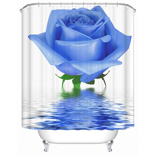 Graceful Tranquil Blue Rose 3D Shower Curtain