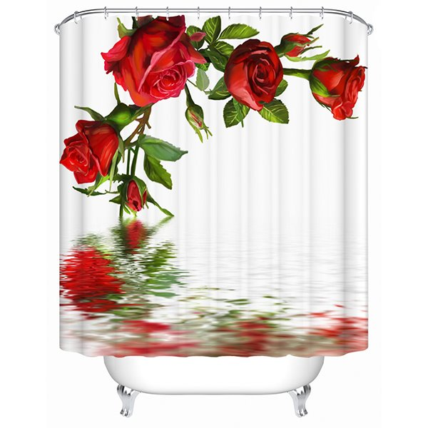 Tranquil Charming Concise Roses 3D Shower Curtain