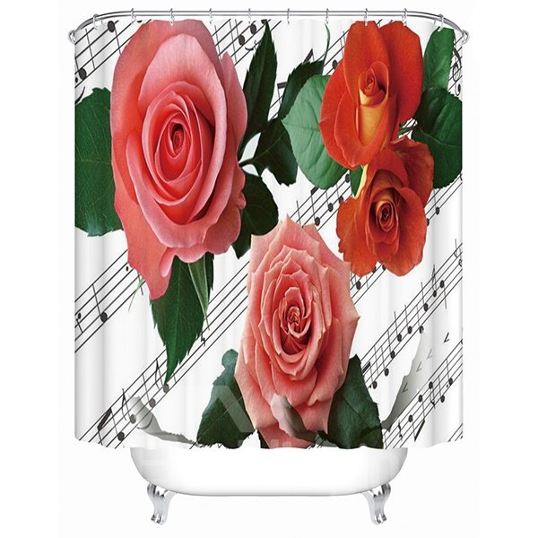 Wonderful Musical Notation and Rose 3D Shower Curtain