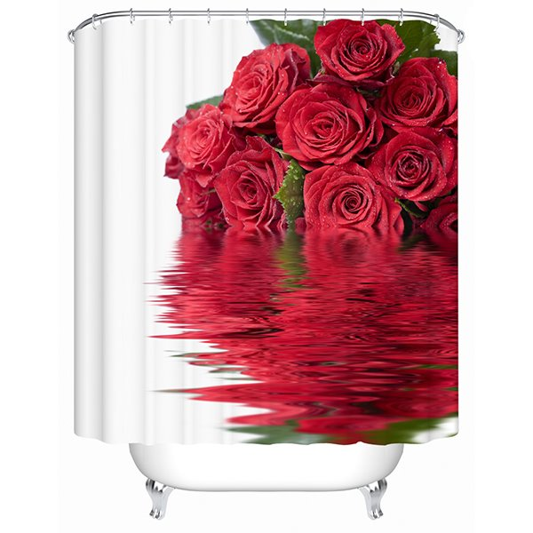 Glamerous Red Rose Bouquet 3D Shower Curtain