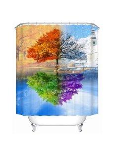 Artistic Design Unique Four Color Tree 3D Shower Curtain