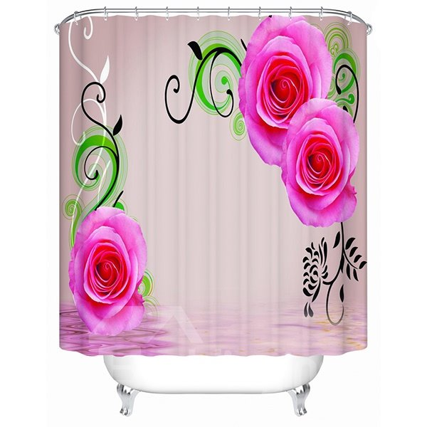 Fashion Concise Design Pink Rose 3D Shower Curtain