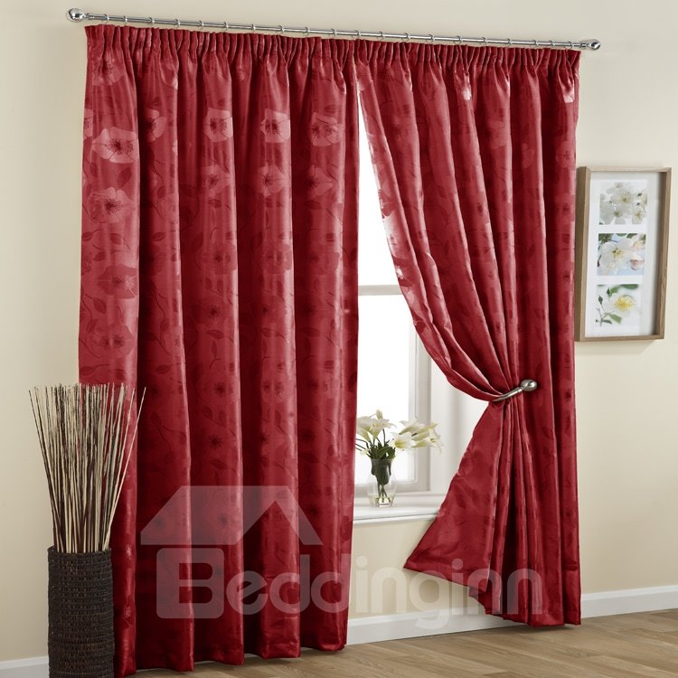 Elegant Red Jacquard Double Pinch Pleat Curtain