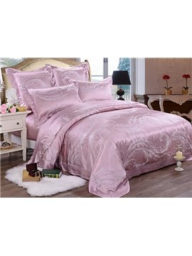 Top Class Phoenix Tail Printing Mulberry Silk 4-Piece Duvet Cover Sets