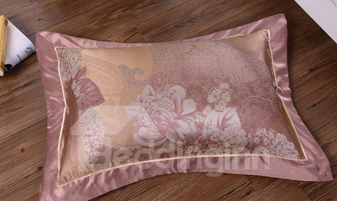 Royal Jacquard Design 100% Mulberry Silk 4-Piece Duvet Cover Sets