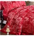 Classy Luxurious Red Flowers Printing Mulberry Silk 4-Piece Duvet Cover Sets