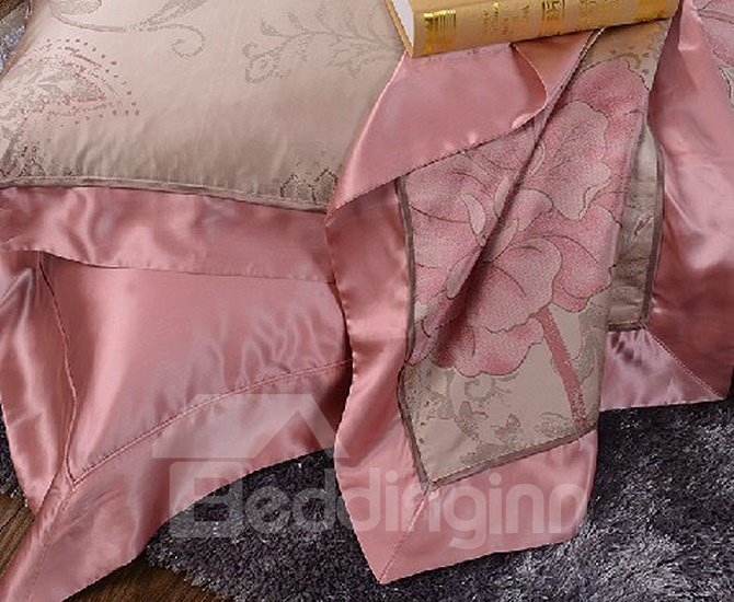 Deluxe Peonies Printing 100% Mulberry Silk 4-Piece Duvet Cover Sets