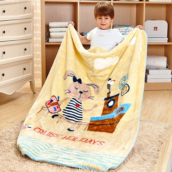 Cruise Holidays Ship and Rabbit Print Baby Blanket