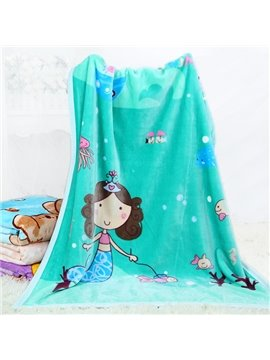 Adorable Mermaid and Her Pet Fish Print Baby Blanket