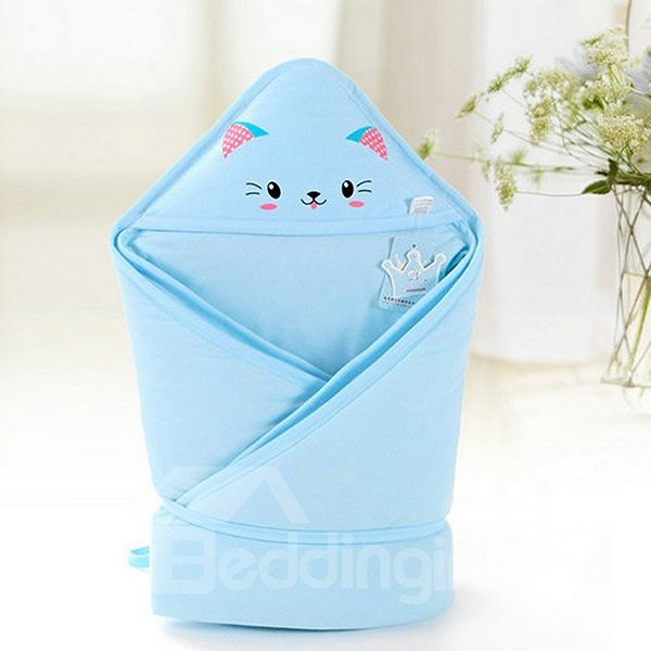 Bouncy Blue Cute Cat Print Baby Blanket