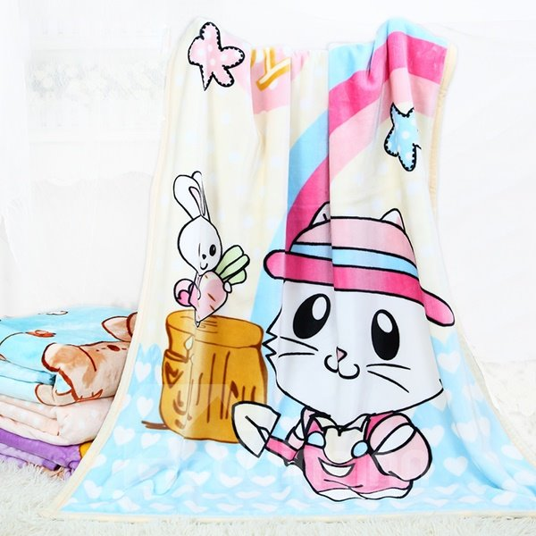 Super Cute Rainbow and Cat Print Baby Blanket