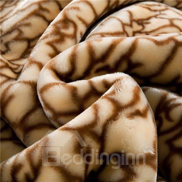 Wild Leopard Printing Soft Brown Raschel Blanket