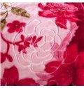 High Grade Red Flowers Design Cozy Raschel Blanket