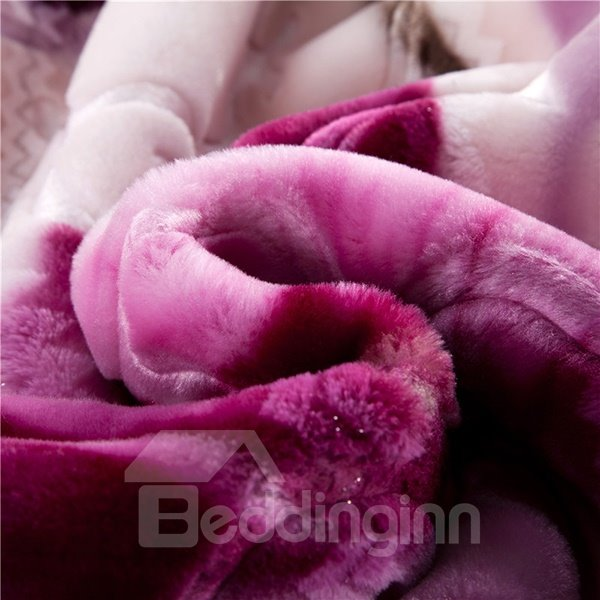 Luxury Purple Flowers Design Warm Soft Raschel Blanket