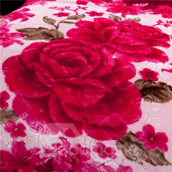 Top Class Gorgeous Fiery Red Flower Printing Raschel Blanket