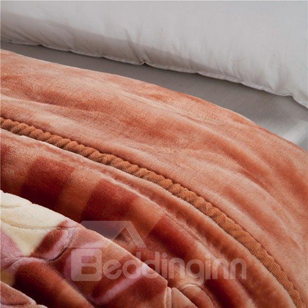 Elegant Brown Floral Design Thick Warm Raschel Blanket