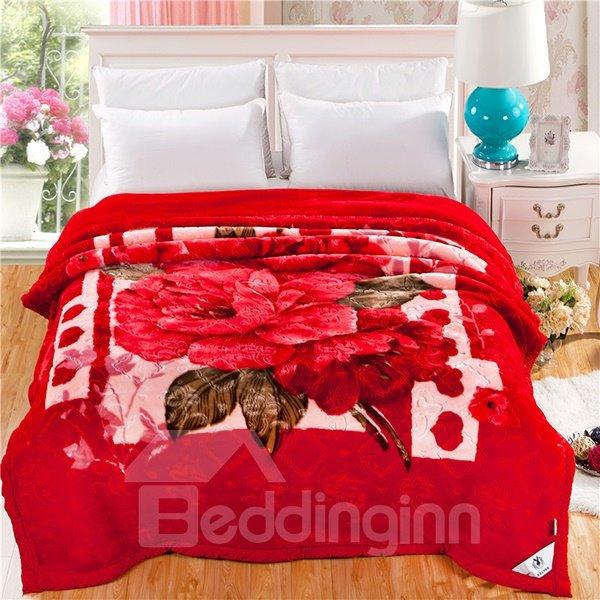 Fiery Red Floral Design Soft Raschel Blanket