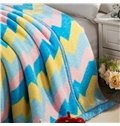 Colorful Broken Line Stripe Design Top Class Raschel Blanket