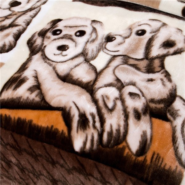 Super Lovely Cartoon Puppy Printing Raschel Blanket