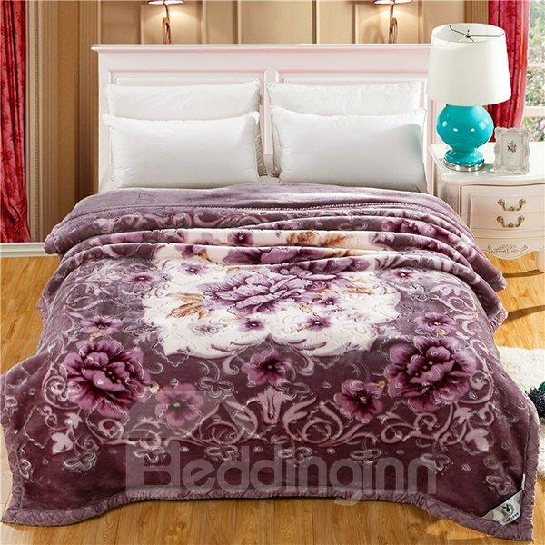 Light Purple Blooming Peonies Printing Raschel Blanket